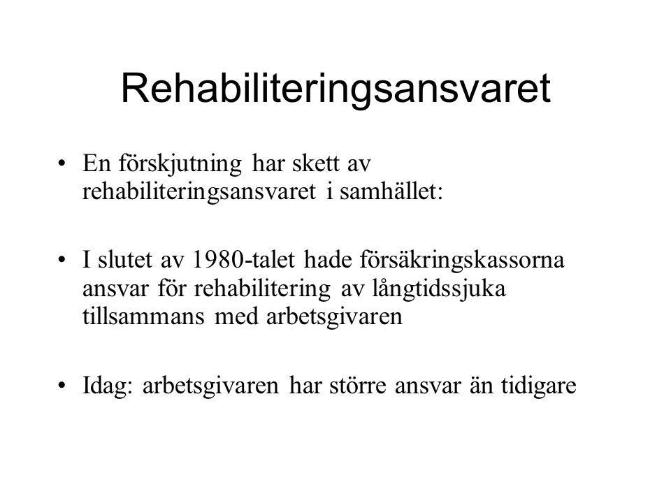Rehabiliteringsansvaret En förskjutning har skett av rehabiliteringsansvaret i samhället: I slutet av 1980-talet hade försäkringskassorna ansvar för r