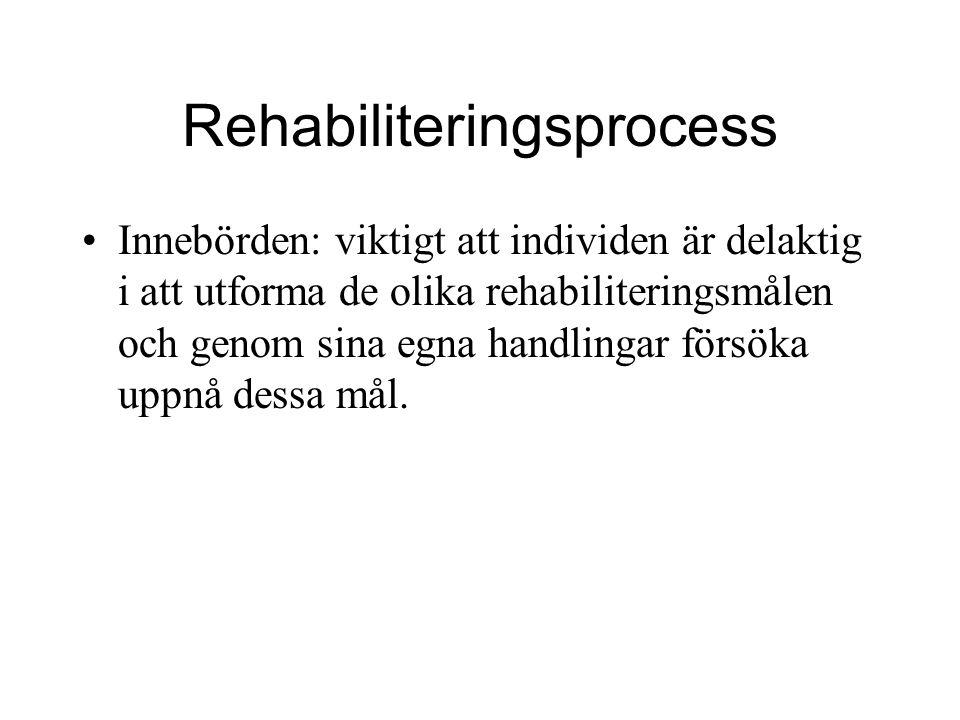Rehabiliteringsprocess Innebörden: viktigt att individen är delaktig i att utforma de olika rehabiliteringsmålen och genom sina egna handlingar försök