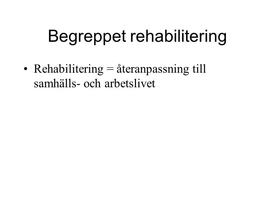 Begreppet rehabilitering Rehabilitering = återanpassning till samhälls- och arbetslivet