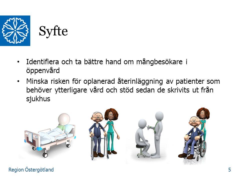 Region Östergötland Syfte 5 Identifiera och ta bättre hand om mångbesökare i öppenvård Minska risken för oplanerad återinläggning av patienter som beh