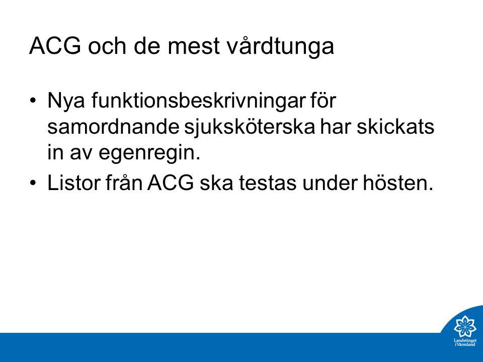 ACG och de mest vårdtunga Nya funktionsbeskrivningar för samordnande sjuksköterska har skickats in av egenregin.