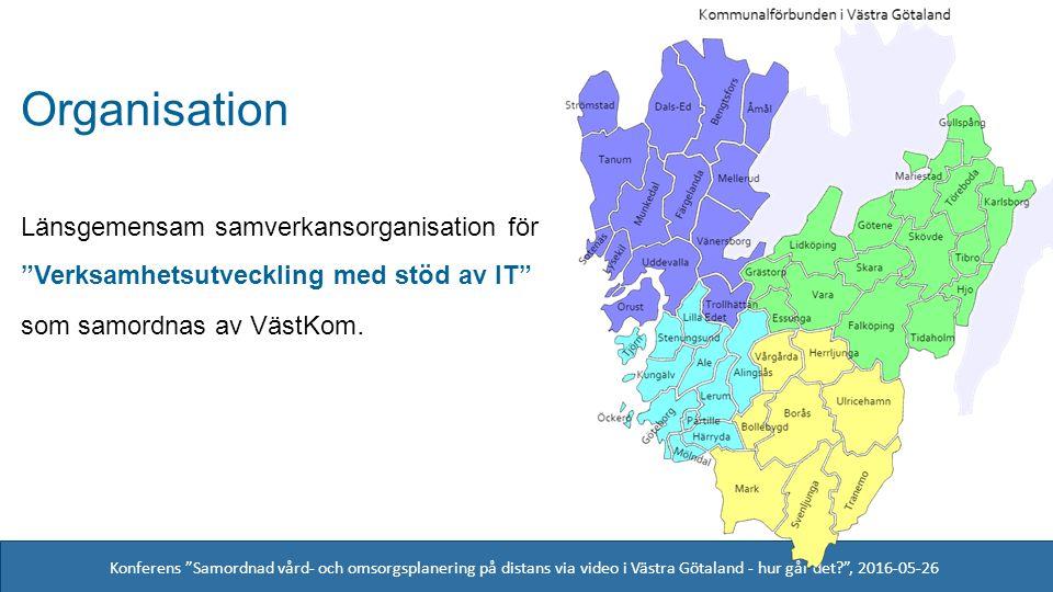 Konferens Samordnad vård- och omsorgsplanering på distans via video i Västra Götaland - hur går det , 2016-05-26 Organisation Länsgemensam samverkansorganisation för Verksamhetsutveckling med stöd av IT som samordnas av VästKom.