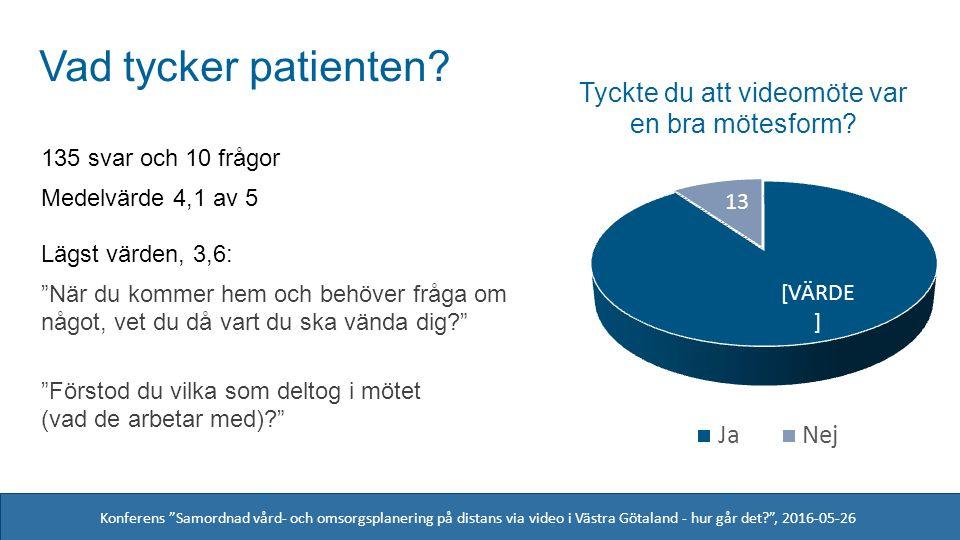 Konferens Samordnad vård- och omsorgsplanering på distans via video i Västra Götaland - hur går det? , 2016-05-26 Saknade patienten något.