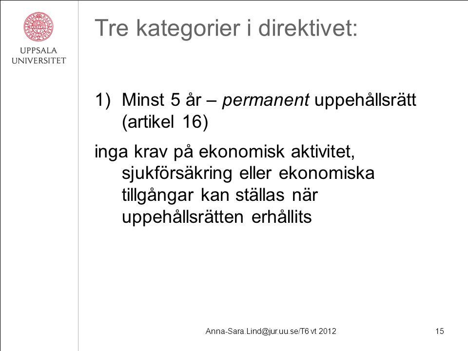 Anna-Sara.Lind@jur.uu.se/T6 vt 201215 Tre kategorier i direktivet: 1)Minst 5 år – permanent uppehållsrätt (artikel 16) inga krav på ekonomisk aktivitet, sjukförsäkring eller ekonomiska tillgångar kan ställas när uppehållsrätten erhållits