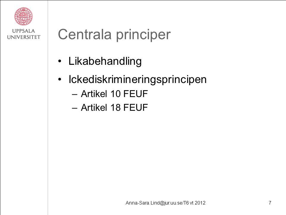 Anna-Sara.Lind@jur.uu.se/T6 vt 20127 Centrala principer Likabehandling Ickediskrimineringsprincipen –Artikel 10 FEUF –Artikel 18 FEUF