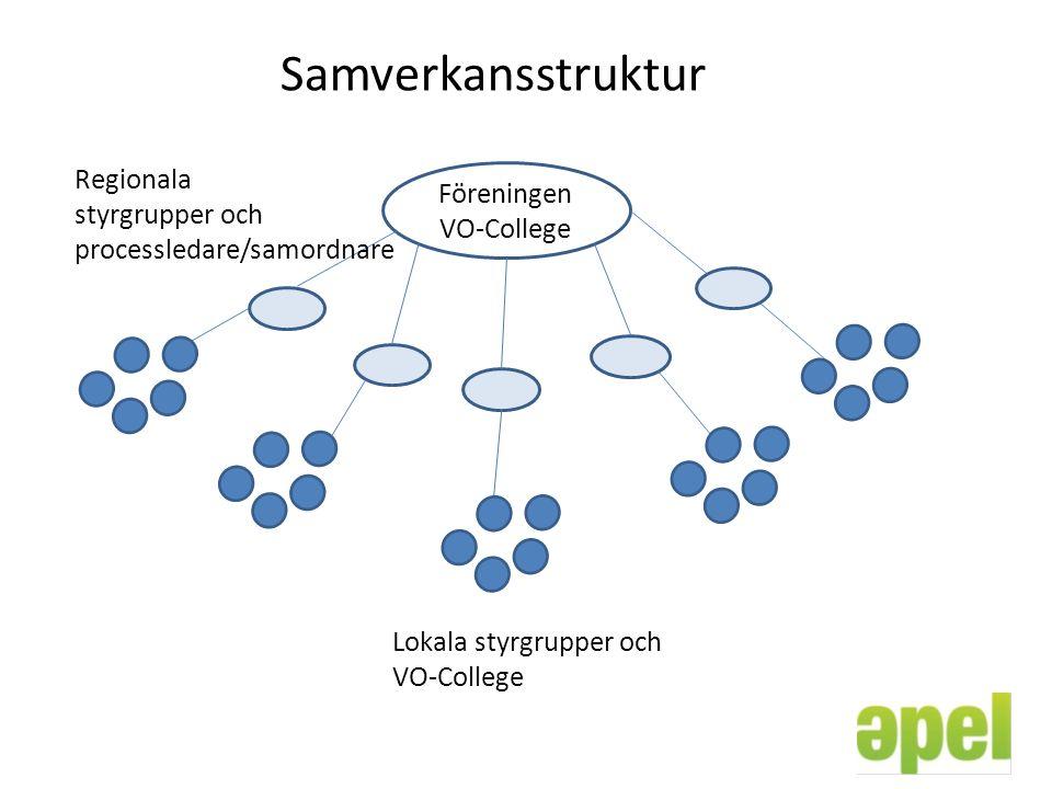 Samverkansstruktur Föreningen VO-College Regionala styrgrupper och processledare/samordnare Lokala styrgrupper och VO-College