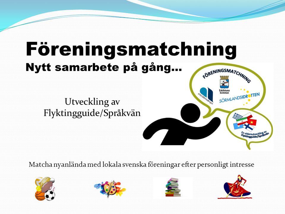Föreningsmatchning Nytt samarbete på gång… Matcha nyanlända med lokala svenska föreningar efter personligt intresse Utveckling av Flyktingguide/Språkvän