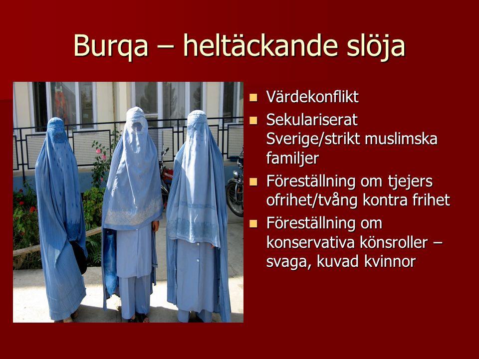 Burqa – heltäckande slöja Värdekonflikt Värdekonflikt Sekulariserat Sverige/strikt muslimska familjer Sekulariserat Sverige/strikt muslimska familjer Föreställning om tjejers ofrihet/tvång kontra frihet Föreställning om tjejers ofrihet/tvång kontra frihet Föreställning om konservativa könsroller – svaga, kuvad kvinnor Föreställning om konservativa könsroller – svaga, kuvad kvinnor