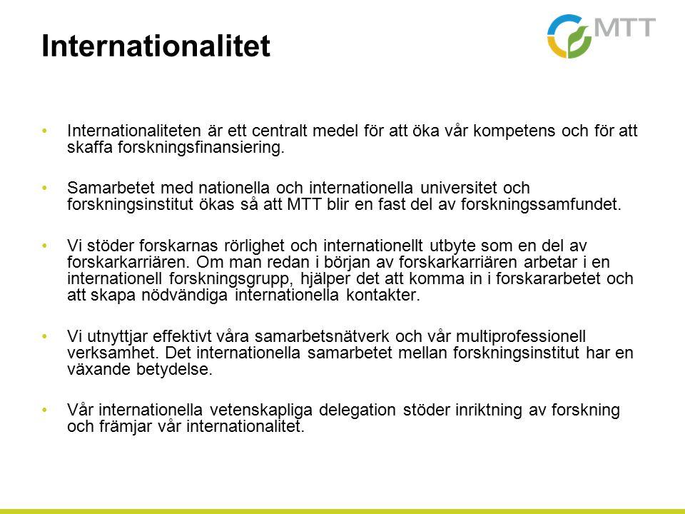Internationalitet Internationaliteten är ett centralt medel för att öka vår kompetens och för att skaffa forskningsfinansiering.