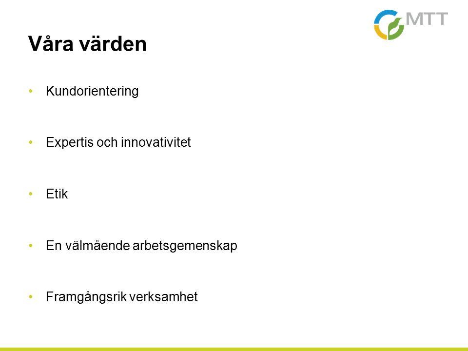 Våra värden Kundorientering Expertis och innovativitet Etik En välmående arbetsgemenskap Framgångsrik verksamhet
