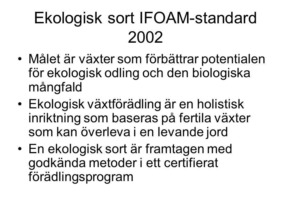 Ekologisk sort IFOAM-standard 2002 Målet är växter som förbättrar potentialen för ekologisk odling och den biologiska mångfald Ekologisk växtförädling är en holistisk inriktning som baseras på fertila växter som kan överleva i en levande jord En ekologisk sort är framtagen med godkända metoder i ett certifierat förädlingsprogram