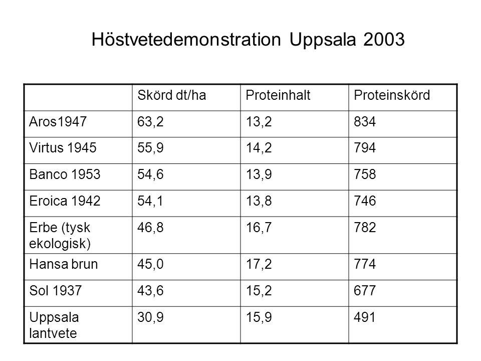 Höstvetedemonstration Uppsala 2003 Skörd dt/haProteinhaltProteinskörd Aros194763,213,2834 Virtus 194555,914,2794 Banco 195354,613,9758 Eroica 194254,113,8746 Erbe (tysk ekologisk) 46,816,7782 Hansa brun45,017,2774 Sol 193743,615,2677 Uppsala lantvete 30,915,9491