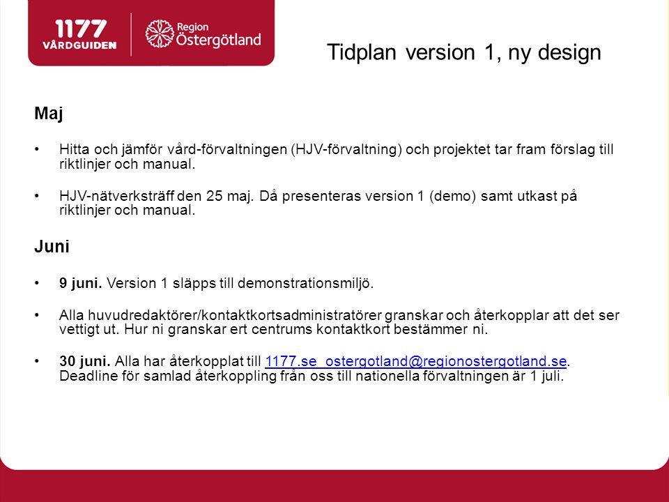 Tidplan version 1, ny design Maj Hitta och jämför vård-förvaltningen (HJV-förvaltning) och projektet tar fram förslag till riktlinjer och manual.