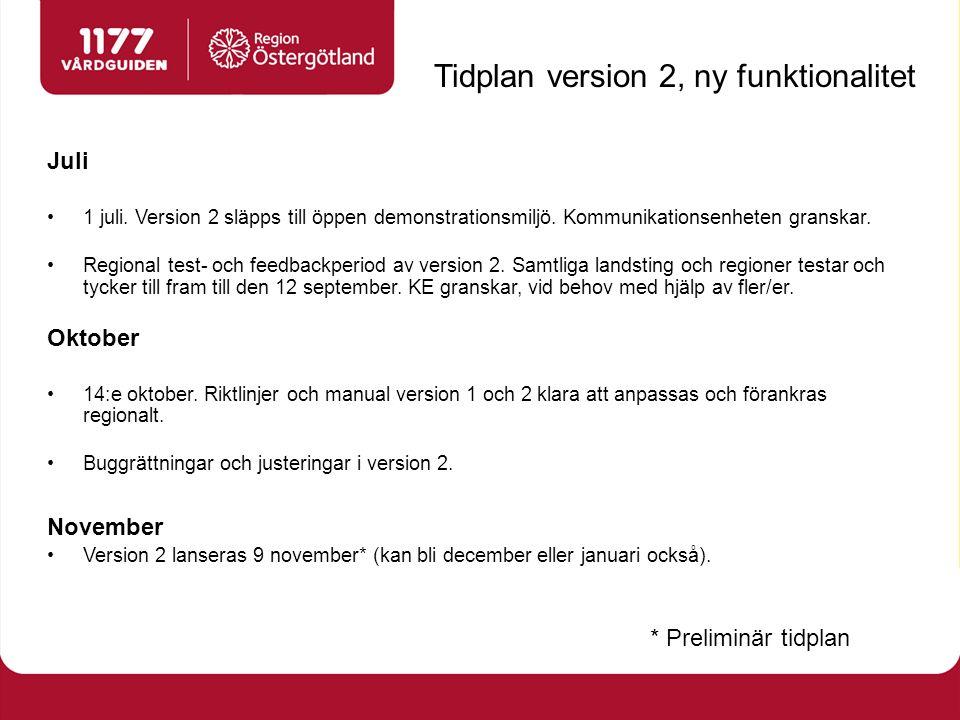 Tidplan version 2, ny funktionalitet Juli 1 juli. Version 2 släpps till öppen demonstrationsmiljö.