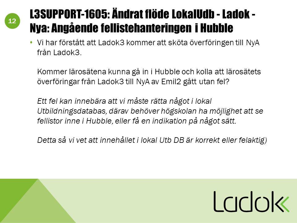 12 L3SUPPORT-1605: Ändrat flöde LokalUdb - Ladok - Nya: Angående fellistehanteringen i Hubble Vi har förstått att Ladok3 kommer att sköta överföringen till NyA från Ladok3.