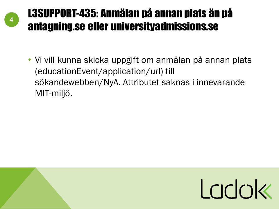 4 L3SUPPORT-435: Anmälan på annan plats än på antagning.se eller universityadmissions.se Vi vill kunna skicka uppgift om anmälan på annan plats (educationEvent/application/url) till sökandewebben/NyA.