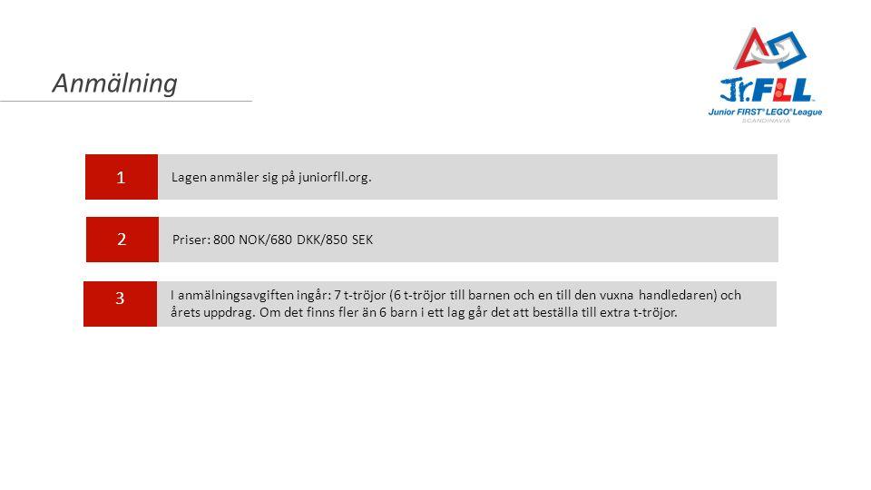 Anmälning 1 2 3 Lagen anmäler sig på juniorfll.org. Priser: 800 NOK/680 DKK/850 SEK I anmälningsavgiften ingår: 7 t-tröjor (6 t-tröjor till barnen och