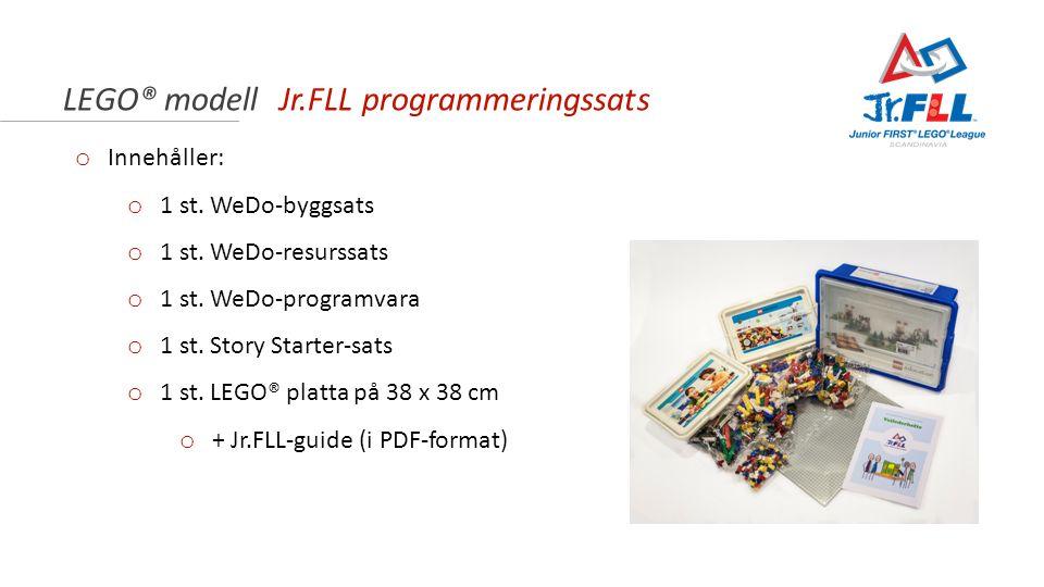 LEGO® modell Jr.FLL programmeringssats o Innehåller: o 1 st. WeDo-byggsats o 1 st. WeDo-resurssats o 1 st. WeDo-programvara o 1 st. Story Starter-sats