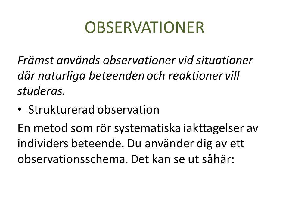 OBSERVATIONER Främst används observationer vid situationer där naturliga beteenden och reaktioner vill studeras.