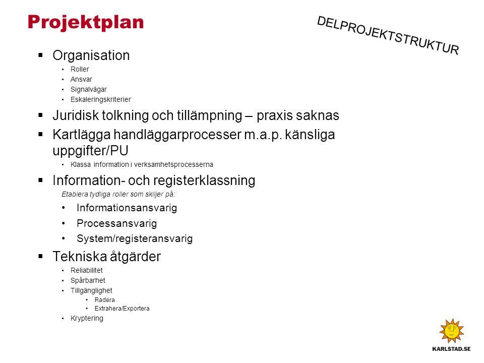 Projektplan  Organisation Roller Ansvar Signalvägar Eskaleringskriterier  Juridisk tolkning och tillämpning – praxis saknas  Kartlägga handläggarprocesser m.a.p.