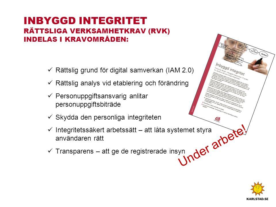Rättslig grund för digital samverkan (IAM 2.0) Rättslig analys vid etablering och förändring Personuppgiftsansvarig anlitar personuppgiftsbiträde Skydda den personliga integriteten Integritetssäkert arbetssätt – att låta systemet styra användaren rätt Transparens – att ge de registrerade insyn INBYGGD INTEGRITET RÄTTSLIGA VERKSAMHETKRAV (RVK) INDELAS I KRAVOMRÅDEN: Under arbete!