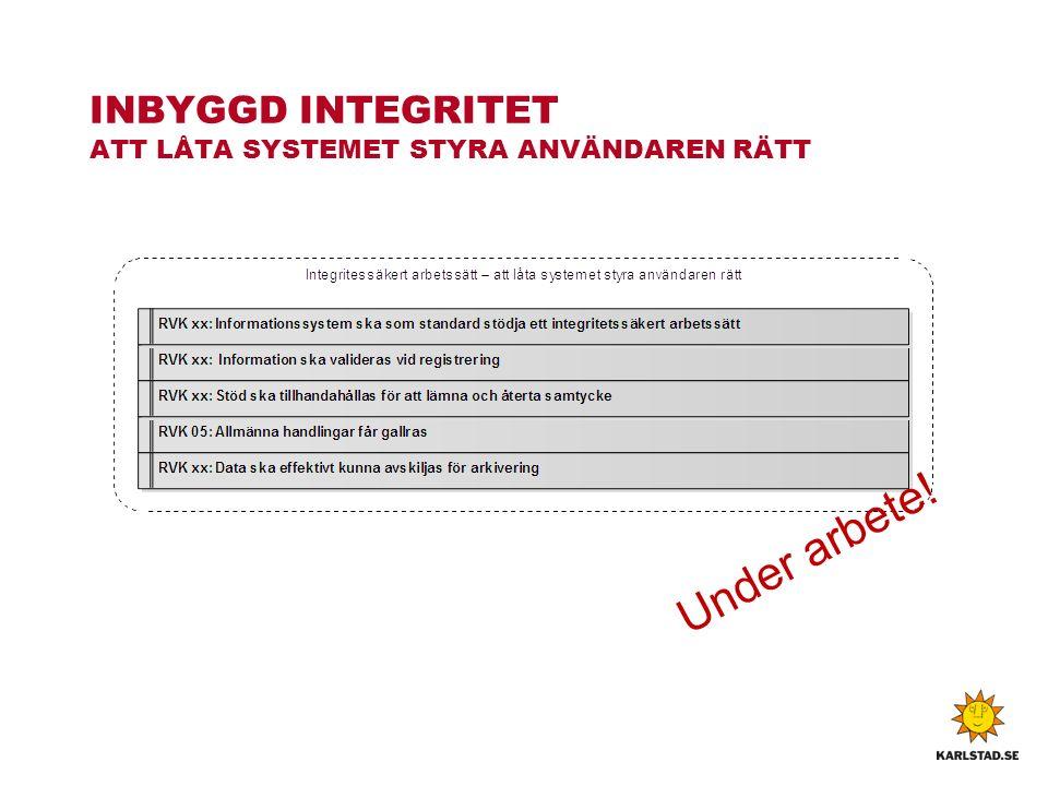 INBYGGD INTEGRITET ATT LÅTA SYSTEMET STYRA ANVÄNDAREN RÄTT Under arbete!
