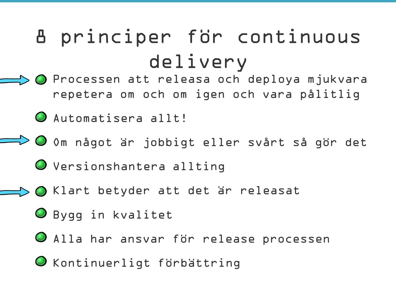 –Processen att releasa och deploya mjukvara måste gå att repetera om och om igen och vara pålitlig –Automatisera allt! –Om något är jobbigt eller svår