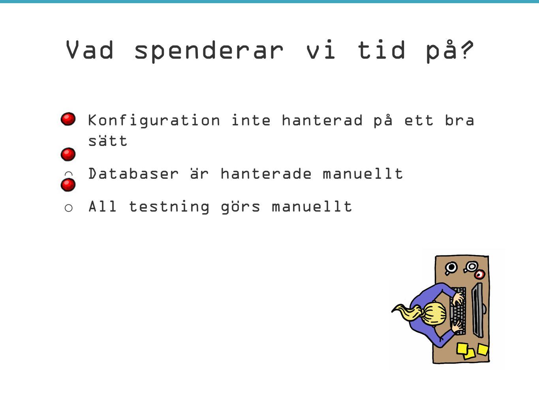 o Konfiguration inte hanterad på ett bra sätt o Databaser är hanterade manuellt o All testning görs manuellt Vad spenderar vi tid på?
