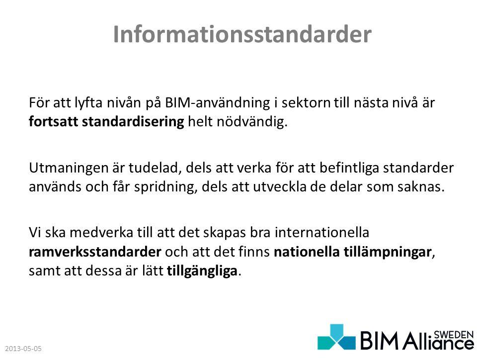 Informationsstandarder För att lyfta nivån på BIM-användning i sektorn till nästa nivå är fortsatt standardisering helt nödvändig.