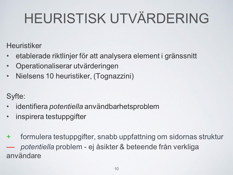 HEURISTISK UTVÄRDERING Heuristiker etablerade riktlinjer för att analysera element i gränssnitt Operationaliserar utvärderingen Nielsens 10 heuristiker, (Tognazzini) Syfte: identifiera potentiella användbarhetsproblem inspirera testuppgifter +formulera testuppgifter, snabb uppfattning om sidornas struktur ––potentiella problem - ej åsikter & beteende från verkliga användare 10