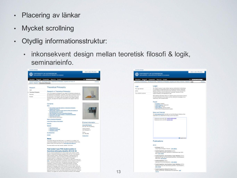 Placering av länkar Mycket scrollning Otydlig informationsstruktur: inkonsekvent design mellan teoretisk filosofi & logik, seminarieinfo.