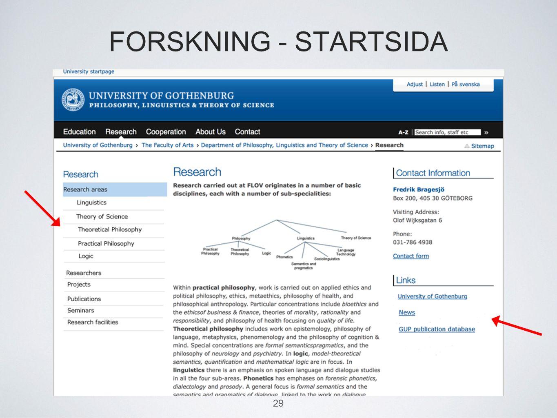 FORSKNING - STARTSIDA 29