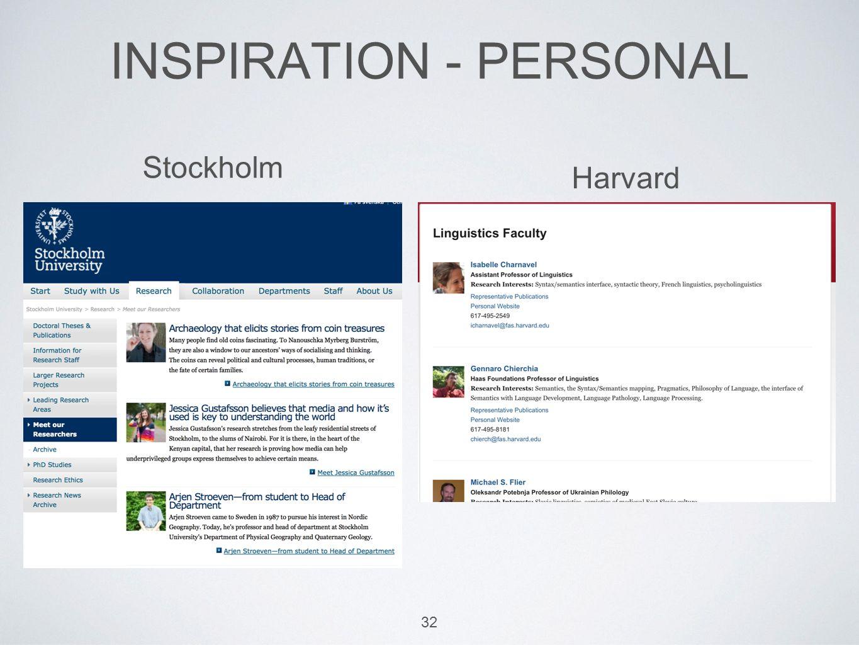 INSPIRATION - PERSONAL 32 Stockholm Harvard