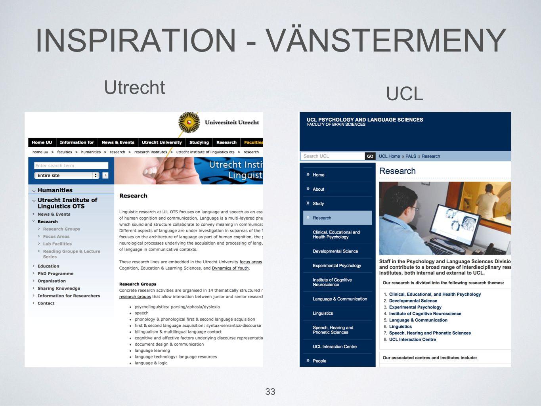 INSPIRATION - VÄNSTERMENY 33 Utrecht UCL