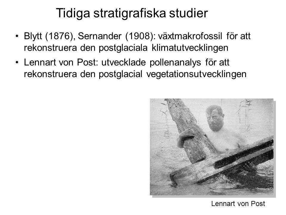 Blytt (1876), Sernander (1908): växtmakrofossil för att rekonstruera den postglaciala klimatutvecklingen Lennart von Post: utvecklade pollenanalys för att rekonstruera den postglacial vegetationsutvecklingen Tidiga stratigrafiska studier Lennart von Post
