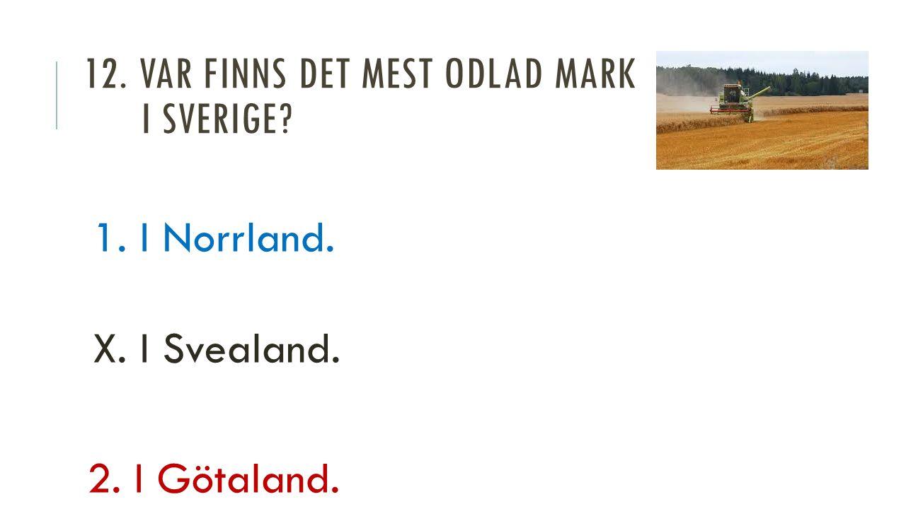 12. VAR FINNS DET MEST ODLAD MARK I SVERIGE 1. I Norrland. X. I Svealand. 2. I Götaland.