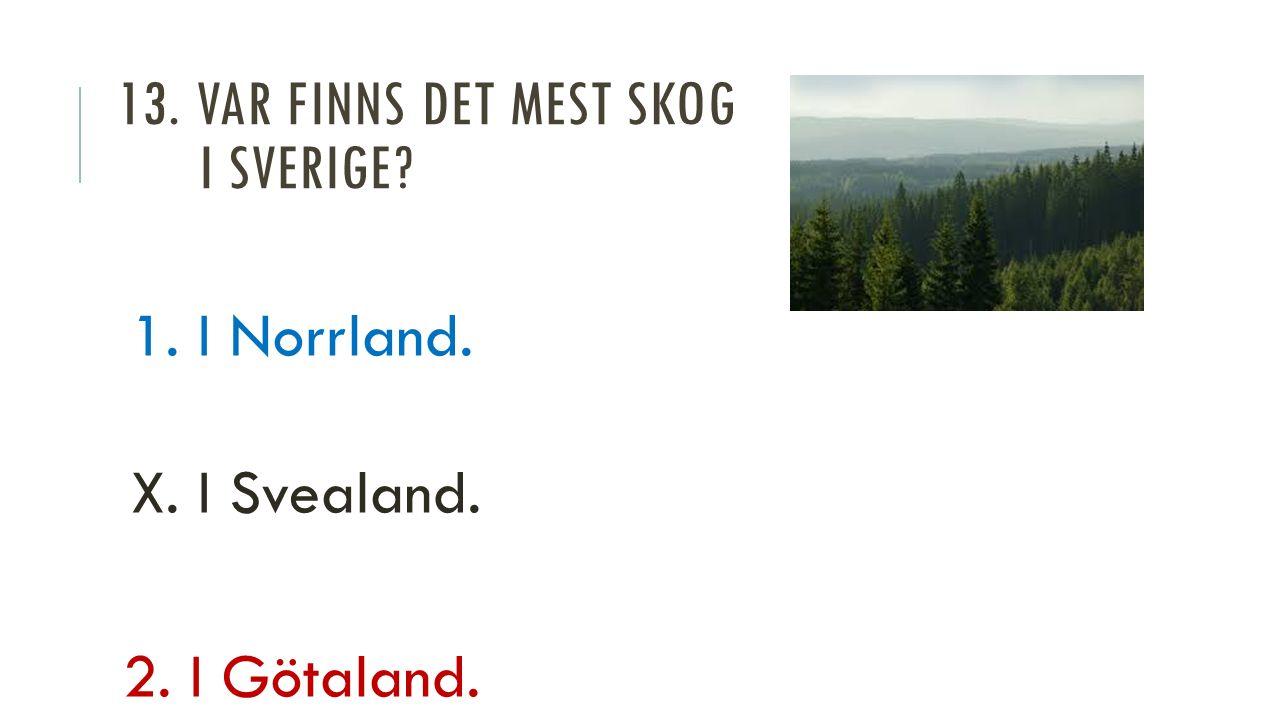 13. VAR FINNS DET MEST SKOG I SVERIGE 1. I Norrland. X. I Svealand. 2. I Götaland.