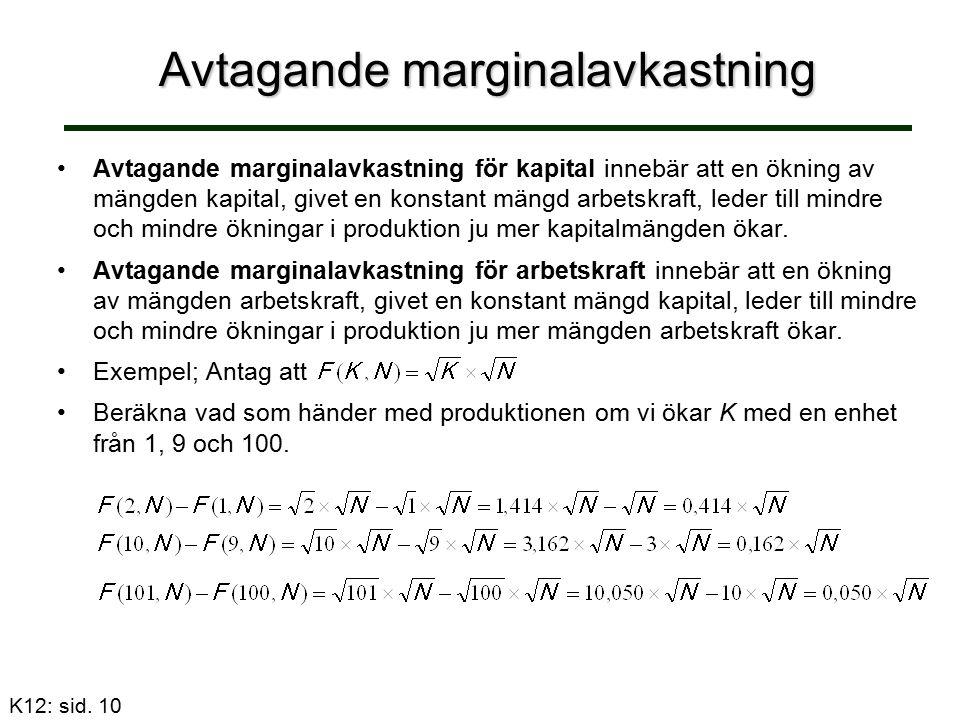 Avtagande marginalavkastning Avtagande marginalavkastning för kapital innebär att en ökning av mängden kapital, givet en konstant mängd arbetskraft, leder till mindre och mindre ökningar i produktion ju mer kapitalmängden ökar.