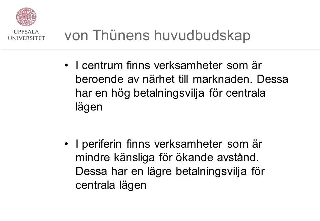 von Thünens huvudbudskap I centrum finns verksamheter som är beroende av närhet till marknaden. Dessa har en hög betalningsvilja för centrala lägen I