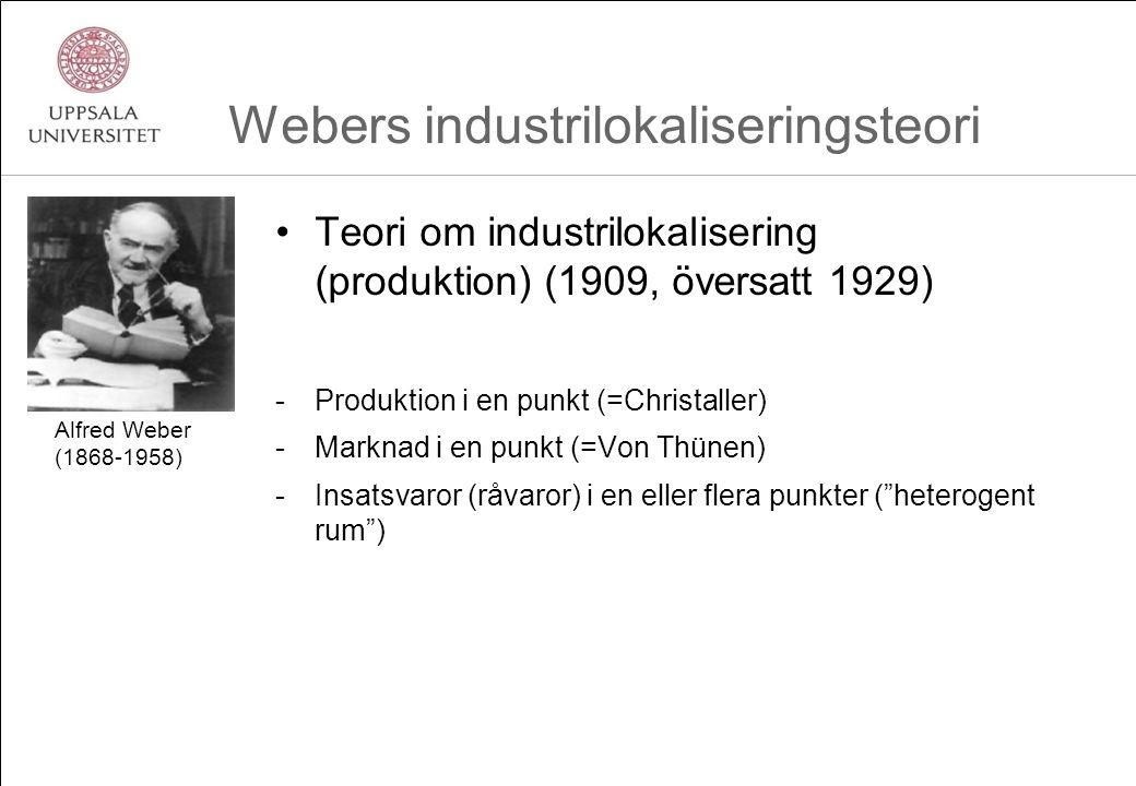 Webers industrilokaliseringsteori Teori om industrilokalisering (produktion) (1909, översatt 1929) -Produktion i en punkt (=Christaller) -Marknad i en punkt (=Von Thünen) -Insatsvaror (råvaror) i en eller flera punkter ( heterogent rum ) Alfred Weber (1868-1958)