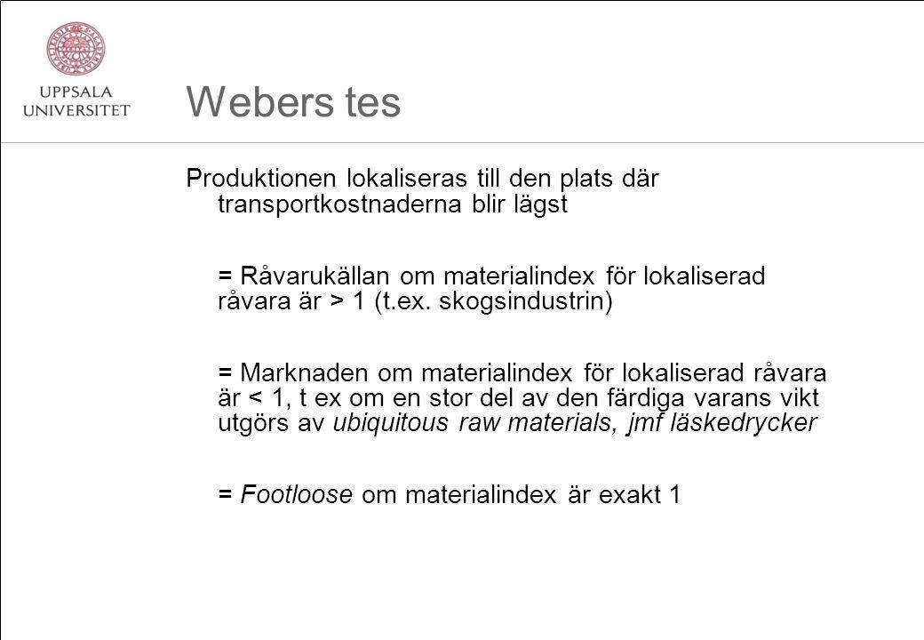 Webers tes Produktionen lokaliseras till den plats där transportkostnaderna blir lägst = Råvarukällan om materialindex för lokaliserad råvara är > 1 (t.ex.