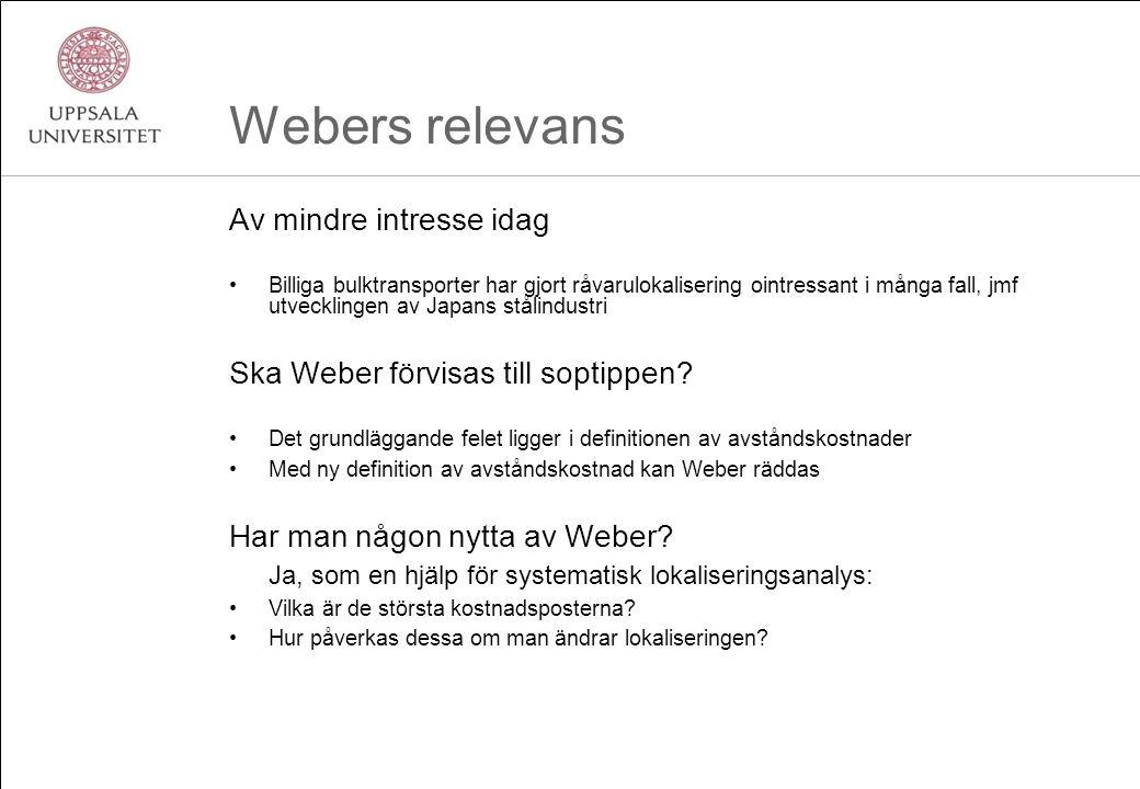 Webers relevans Av mindre intresse idag Billiga bulktransporter har gjort råvarulokalisering ointressant i många fall, jmf utvecklingen av Japans stålindustri Ska Weber förvisas till soptippen.