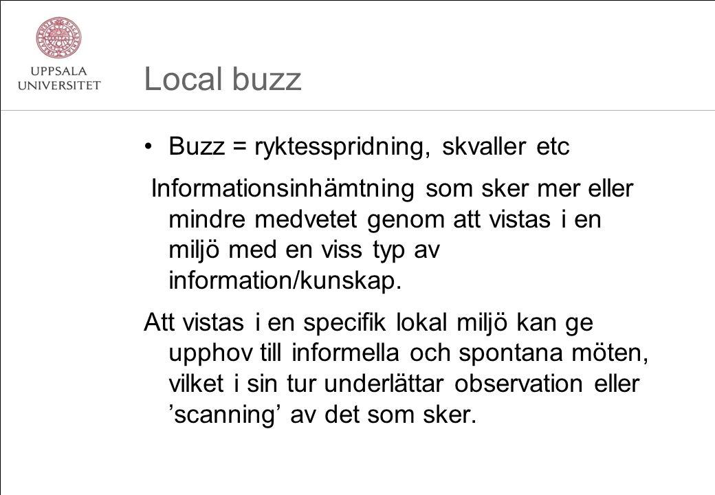 Local buzz Buzz = ryktesspridning, skvaller etc Informationsinhämtning som sker mer eller mindre medvetet genom att vistas i en miljö med en viss typ av information/kunskap.