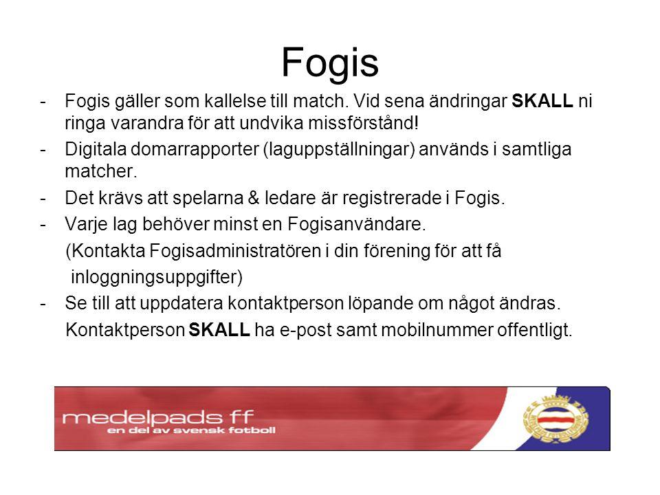 Fogis -Fogis gäller som kallelse till match.