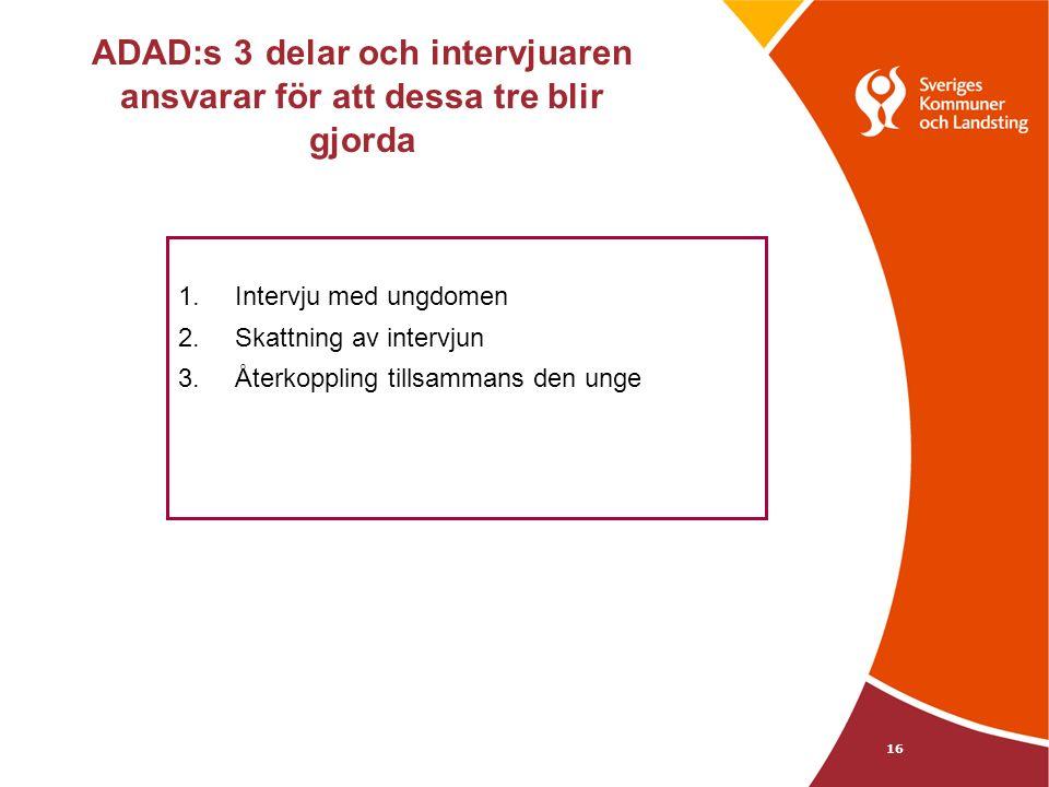 ADAD:s 3 delar och intervjuaren ansvarar för att dessa tre blir gjorda 1.Intervju med ungdomen 2.Skattning av intervjun 3.Återkoppling tillsammans den unge 16