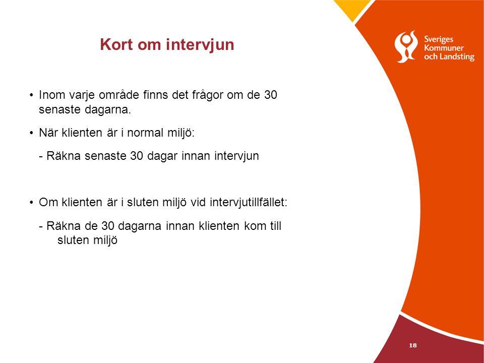 Kort om intervjun Inom varje område finns det frågor om de 30 senaste dagarna.