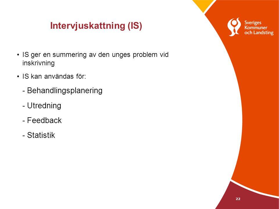 Intervjuskattning (IS) IS ger en summering av den unges problem vid inskrivning IS kan användas för: - Behandlingsplanering - Utredning - Feedback - Statistik 22