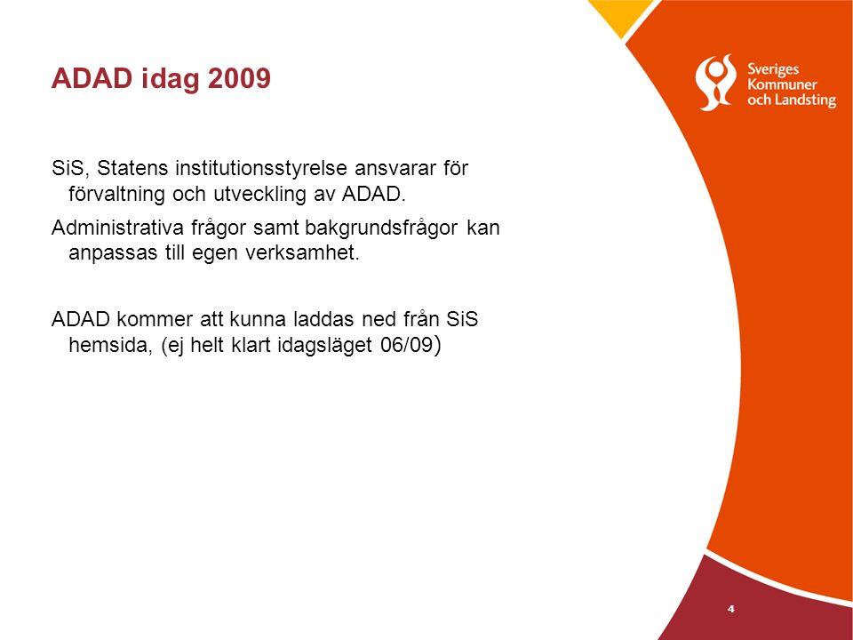 ADAD idag 2009 SiS, Statens institutionsstyrelse ansvarar för förvaltning och utveckling av ADAD.