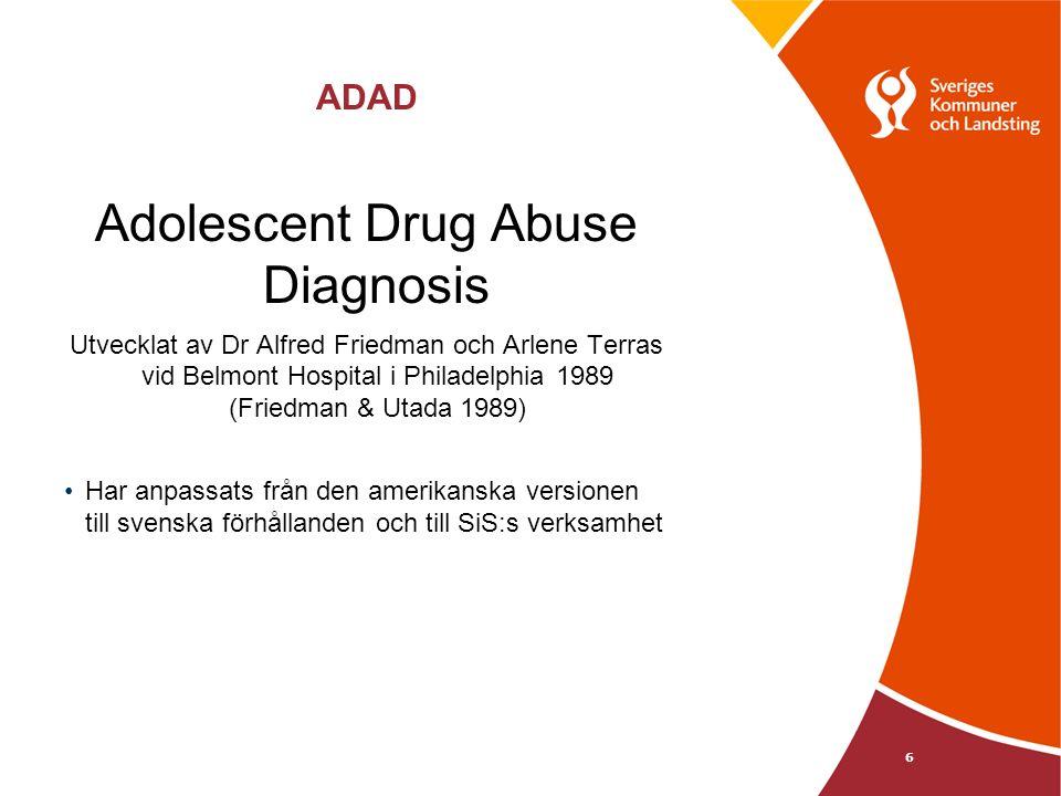 ADAD Adolescent Drug Abuse Diagnosis Utvecklat av Dr Alfred Friedman och Arlene Terras vid Belmont Hospital i Philadelphia 1989 (Friedman & Utada 1989) Har anpassats från den amerikanska versionen till svenska förhållanden och till SiS:s verksamhet 6