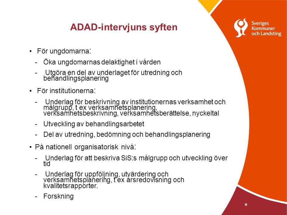 ADAD-intervjuns syften För ungdomarna : - Öka ungdomarnas delaktighet i vården - Utgöra en del av underlaget för utredning och behandlingsplanering För institutionerna : - Underlag för beskrivning av institutionernas verksamhet och målgrupp, t ex verksamhetsplanering, verksamhetsbeskrivning, verksamhetsberättelse, nyckeltal - Utveckling av behandlingsarbetet - Del av utredning, bedömning och behandlingsplanering På nationell organisatorisk nivå : - Underlag för att beskriva SiS:s målgrupp och utveckling över tid - Underlag för uppföljning, utvärdering och verksamhetsplanering, t ex årsredovisning och kvalitetsrapporter.